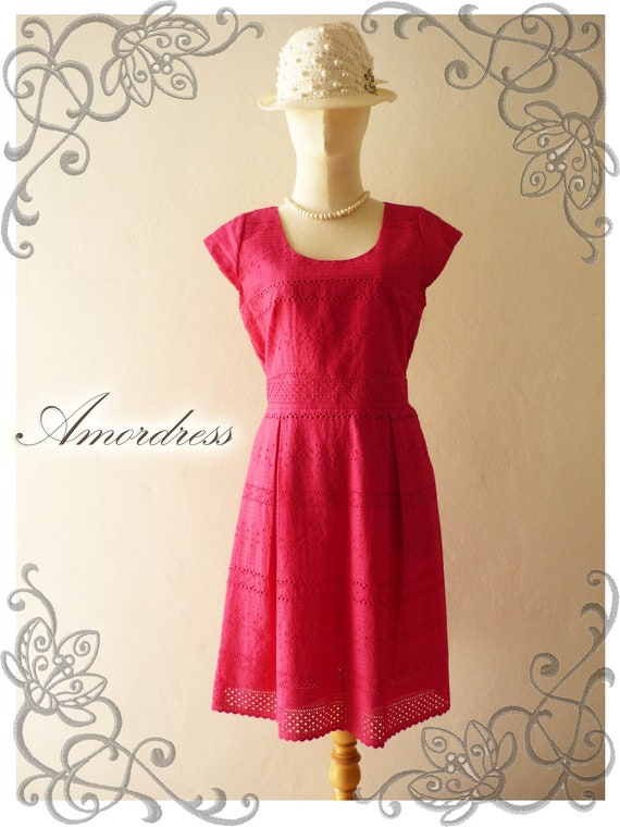Amor Vintage Inspired Duchess French Lace Dress Cap Sleeve Gorgeous in Hot Pink
