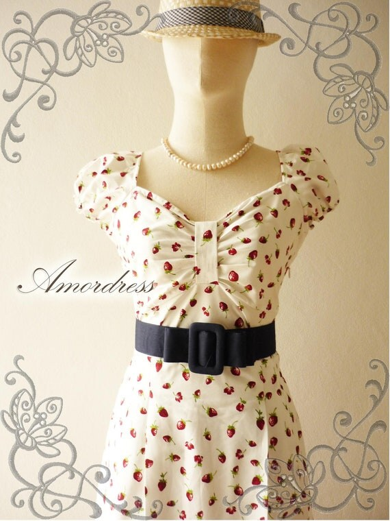 Dolly Me...Amor Vintage Inspired Lovely Dolly Sleeve Red Strawberry Special Navy Shade Dress  -Fit S-M -