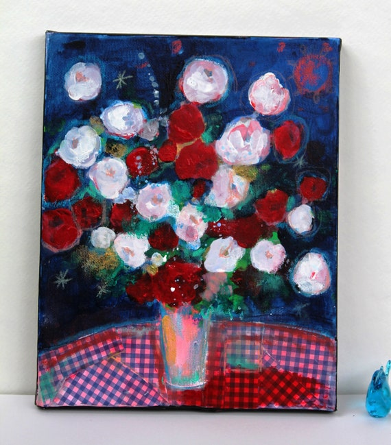 """Reserved for Brigitta Still Life Abstract Floral Acrylic Painting on Small Canvas """"Red and White Roses at Night"""""""