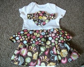 Onesie Dress (size 6-12 mo) Colorful Polka Dots and Paisley with matching flower headband