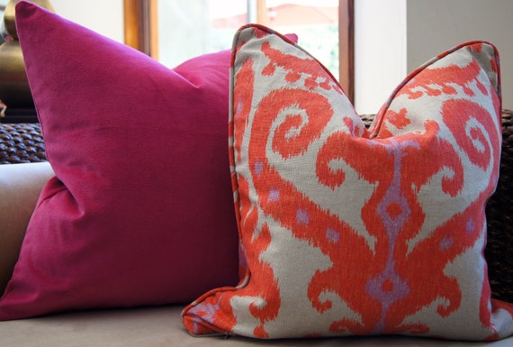 Orange and Lavender Ikat Pillow Cover Size 20x20