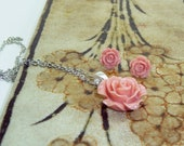 Vintage Style Rose Pendant Gift Set with Petite Rose Earrings--You Choose