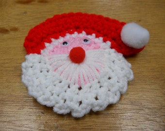Crochet Santa Lapel Pin Pattern-  PDF INSTANT DOWNLOAD Pattern - also use as a holiday package decoration, magnet, or tree ornament