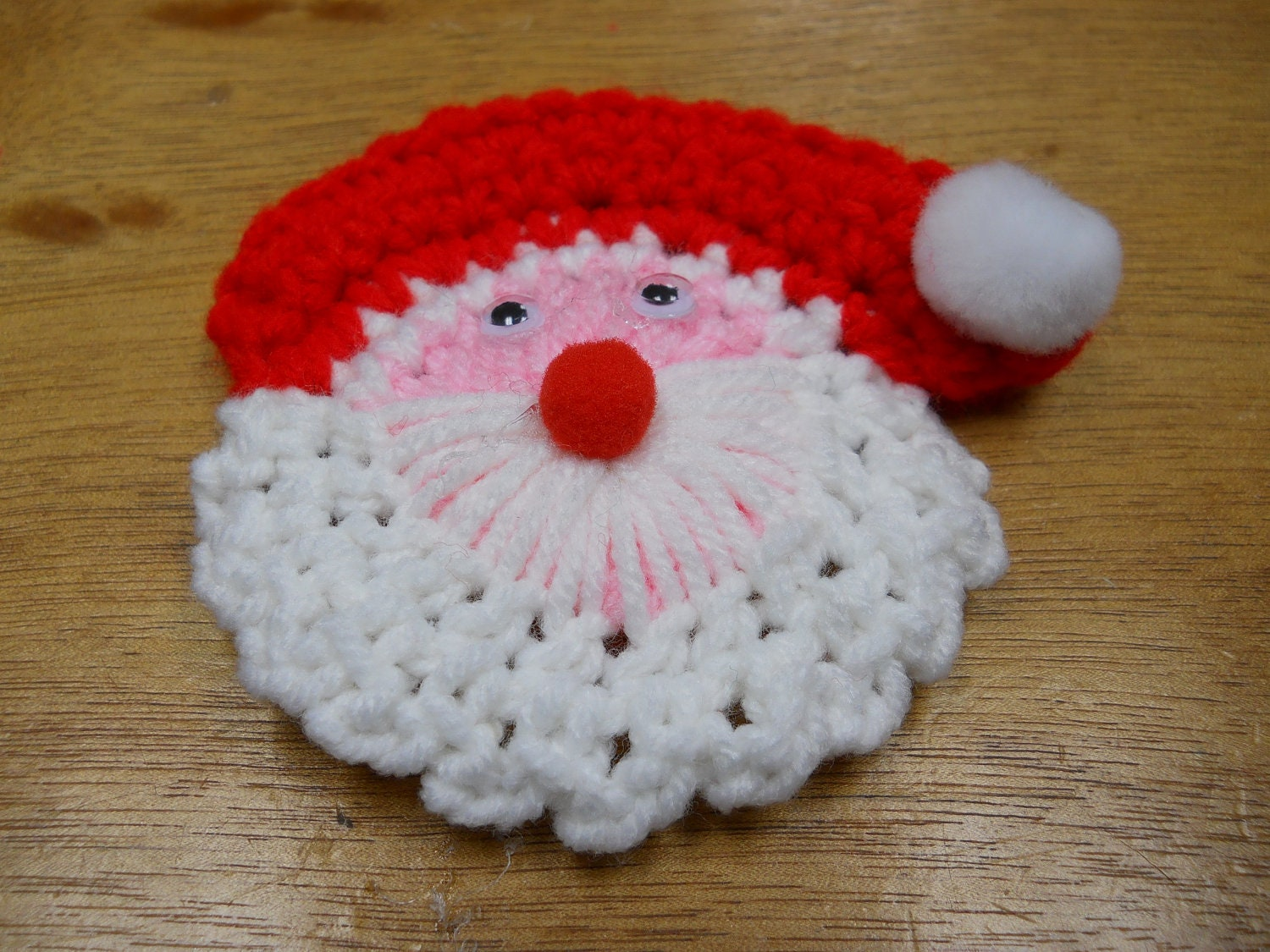 Free Crochet Santa Claus Coaster Pattern : Crochet Santa Lapel Pin Pattern PDF INSTANT DOWNLOAD Pattern