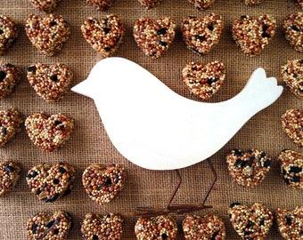 24 petite bird seed hearts - birdseed wedding favor, love birds, DIY assembly, super saver, wedding favors