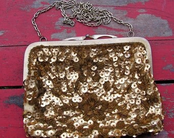 50s Glam Gold Sequin and Bead Metal Frame Purse by Adele Handbags Miami Florida