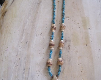 Turquoise and ceramic Kokopelli necklace