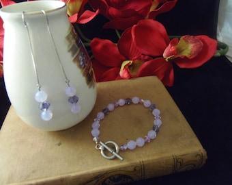 Two Piece Set - Swarovski Crystal Bracelet and Earring Set - Lavender Opal, Amethyst, and Alexandrite SALE!