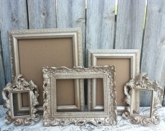 Vintage Style PICTURE FRAMEs - Set of 5 - champagne color - rustic romantic Wedding - w/ Glass N Backing