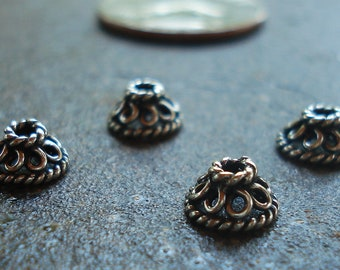 Oxidized Bali Sterling Silver Bead Cap 4 x 7.6 mm  with Wire Ornaments, pkg of 4