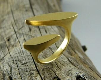 Modern gold ring split ring statement minimalistic ring gold open ring