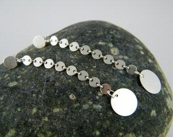 Silver discs earrings long silver earrings silver circle earrings