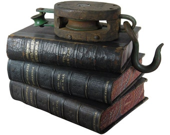 Oversized Antique 1880's Leather Bound Books, Excellent Patina, Large Collection