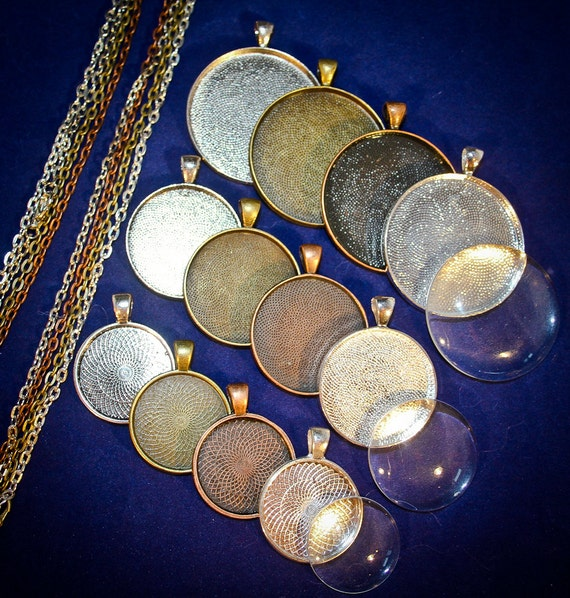 36 piece DIY Necklaces Complete Round pendant sampler set 38 mm - 30 mm and 25 mm Round Blank settings with Necklaces and Glass