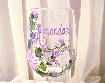 Personalized painted wine glass for friends, mom, sister, grandmother, mother in law, etc.weddings, retirements and all occasions