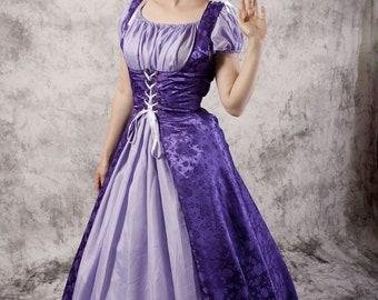 Purple Renaissance Gown, Medieval Dress Chemise Set, Fairytale Princess Costume, Renaissance Wedding, Wench LARP Costume, Bridesmaid Gown
