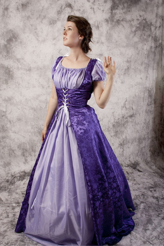 Purple Renaissance Gown Medieval Dress Chemise Set Fairytale | Etsy