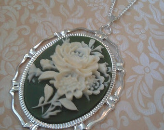 Green and Cream Flower Cameo Necklace