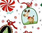 Reindeer, Christmas Fabric, Reindeer Fabric, White Fabric, Santa Fabric, Peppermint Twist, 01487