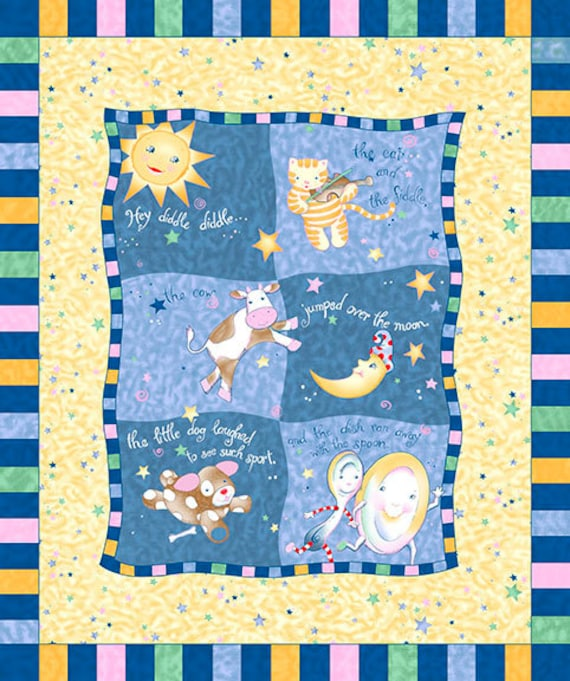 Storybook fabric baby panel star fabric by thebusybeequilting for Moon and stars fleece fabric