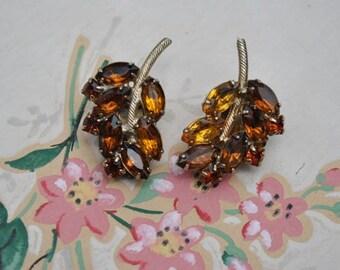 Amber Rhinestone Clip Earrings, Leaf Design