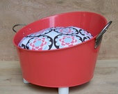 Industrial Style Cat Bed  Coral Red Metal Tub With Brown White and Gray Pillow