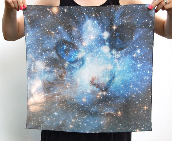 Cat Space Galaxy Nebula Print Silk Square Scarf