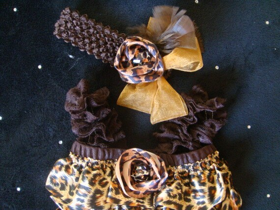 Baby GIRL outfit - onesie, romper, bodysuit - Newborn to Size 12 months- Ruffled leopard print with rhinestone BLING - matching headband