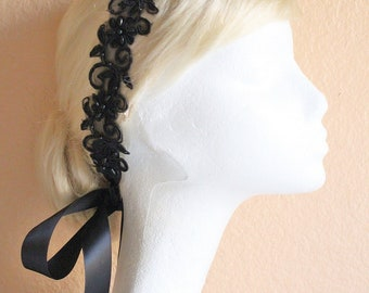Black Beaded Flower Lace with Satin Ribbon Sash // Bridal Sash , Bridesmaid Sash, Head tie, Headband , Wedding Sash
