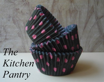 Cupcake Liners - Baking Cups  Black with Pink Polka Dots  (50 )