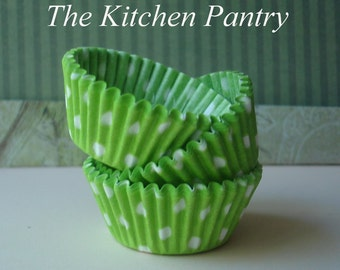 Mini  Cupcake Liners   Lime Green Polka dot baking Cups (70)