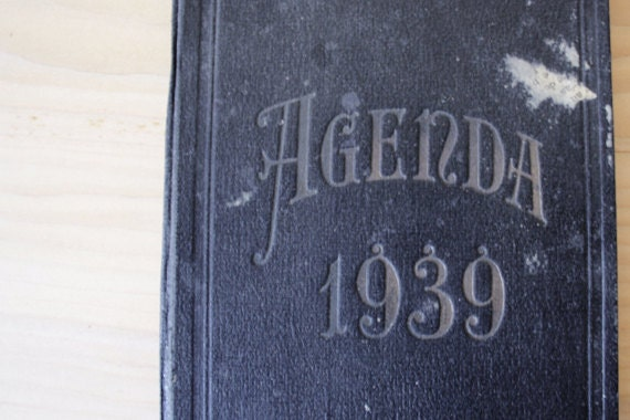 1939.Vintage FRENCH ledger // Accounts journal // Notebook // French diary // hand written