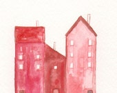 Art Watercolor Painting , Watercolor Little House , Home Decor , Wall decoration , Red  maroon - mallalu