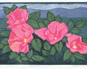 Beach Rose 2 Reduction Block Print