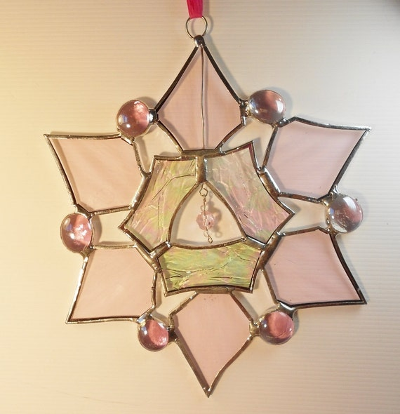Stained Glass Snowflake. Star. Holiday ornament. Suncatcher.