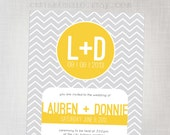 Printable Wedding Chevron Invitation in Sunshine (Yellow) and Cool Grey (RSVP card sold separately)