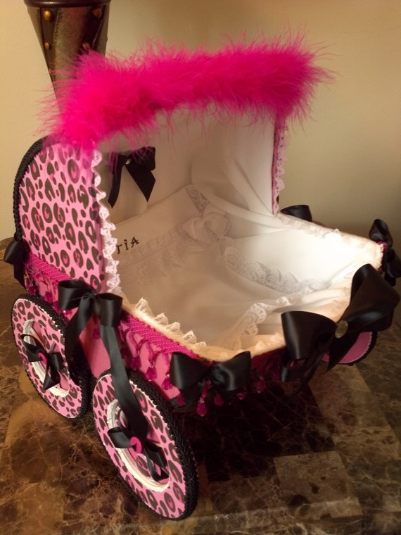 Items similar to 14 inch pink and black leopard cheetah baby carriage centerpiece baby - Cheetah print centerpieces ...