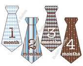 Brown and Blue Onesie Sticker Ties for Baby Boys...Photo Prop...Favorite Baby Shower Gift for New Moms