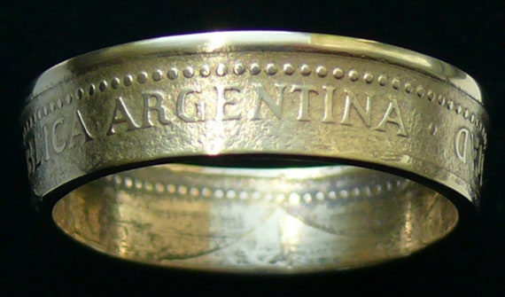 Bronze Coin Ring 1992 Argentina 50 Centavos -  Size 9 3/4 and Double Sided