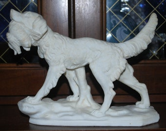 sale dog with duck sculpture rare  white   hunting dog  salt clay,sculpture hunting lodge decor