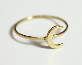 Moon Ring Solid 14K Gold