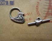 20pairs antique silver bird toggle clasp R23475