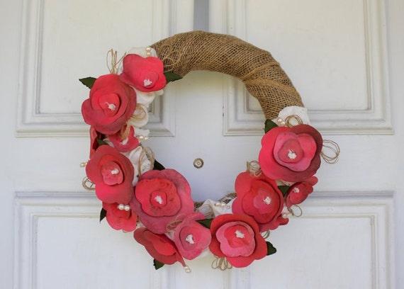 "Paper Flower and Burlap Wreath - 13"" diameter"