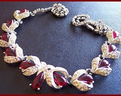 """Vintage Statement Necklace ART DECO Red & Clear Rhinestones Silver Metal Fancy 20"""""""