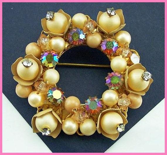"Vintage Brooch Pin Flower Wreath Style w Pearl Beads & AB Rhinestones Gold Filigree 2 1/4"""