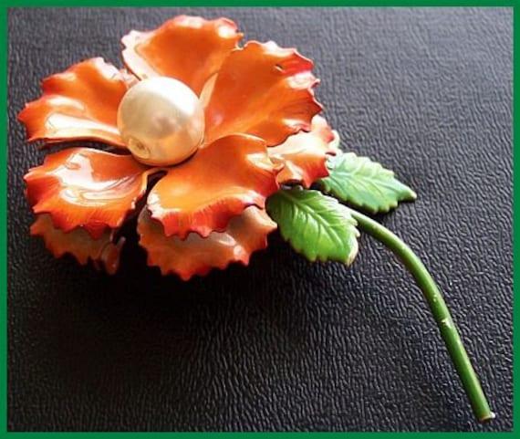 "Vintage Brooch Pin w Orange Enamel Paint & Pearl Center Flower Design 1950s Mad Men 3.5"" CIJ Sale"