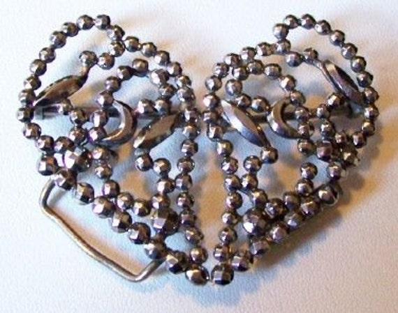"Antique Belt Buckle Cut Steel Riveted Silver Color Heart Design Victorian 2.5"" EX"