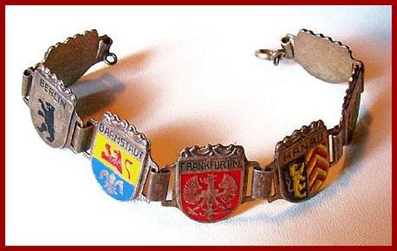 "Vintage German Bracelet 1940s-50s Colorful Shields Enamel Painted Silver Link Style 7.5"" EX"