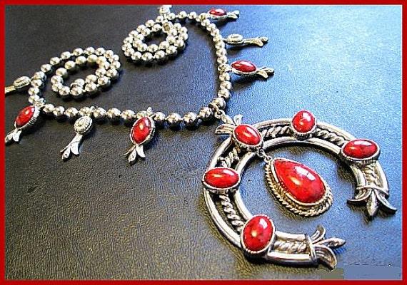 "Vintage Necklace Signed ART Squash Blossom Multi Dangle Red Stones & Silver Metal 24"""