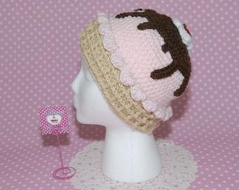 Ice Cream Hat-Crochet Hat-Crochet Ice Cream-Bennie-Kawaii-Girl Hat-Fairy kei-Harajuku-Gift For her-Geek-Winter Hat-Ear Warmers